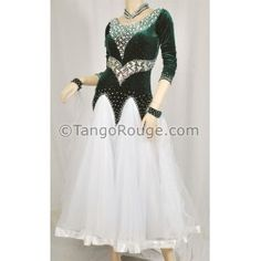 Share me and get 5% off coupon Hunter Green Velvet Waltz Dance Dress - L