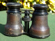 Antique french brass and leather opera glasses/binoculars
