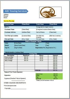 Towing Forms Free Ticket Template Invoice