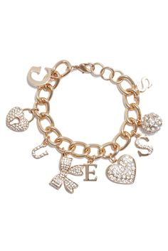 For the Beauty: Gold-Tone Charm Bracelet | GUESS.com #GUESSHoliday