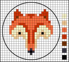 fox pattern stitch or needlework pattern Knitting Charts, Knitting Patterns, Cross Stitching, Cross Stitch Embroidery, Cross Stitch Designs, Cross Stitch Patterns, Beading Patterns, Embroidery Patterns, Fox Quilt
