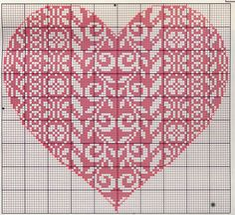 Cuore Punto Croce Rosso Con Disegni 0141 Wedding Cross Stitch Patterns, Cross Stitch Designs, Cross Stitching, Cross Stitch Embroidery, Beading Patterns, Embroidery Patterns, Stitch Witchery, Cross Stitch Heart, Crochet Cross