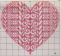 Cuore Punto Croce Rosso Con Disegni 0141