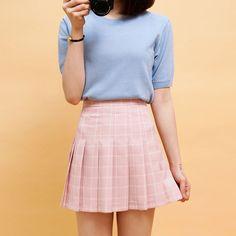 Square Check Flare Skirt | Korean Fashion