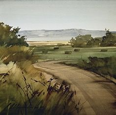 "2013, Through the Fields by Joseph Alleman Watercolor ~ 11"" x 11"""