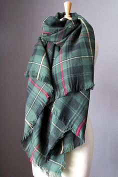 Tartan scarf plaid scarf blanket scarf oversized by ScarfObsession