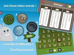 Gappy's First Words [iPad, iPhone] - an app for reading and spelling practice (over 200 3 letter CVC and sight words).
