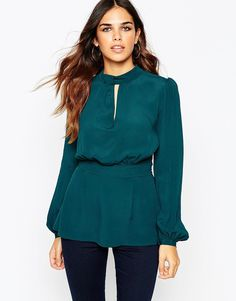 Image 2 ofASOS High Neck Blouse With Keyhole Detail and Cut Out Back