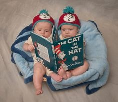 Thing one and Thing two - RJN Photography --twin poses - Cat in the Hat Twin Pictures, Twin Photos, Cute Baby Pictures, Newborn Pictures, 2 Photos, Twin Girls, Twin Babies, Twin First Birthday, Twins 1st Birthdays