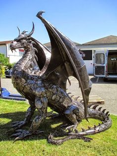 A very cool metal dragon sculpture.  I want one in my yard. :)