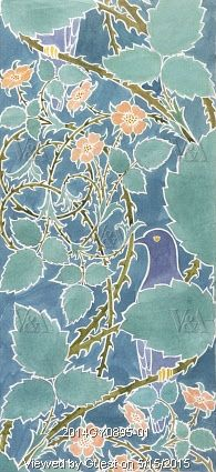 ¤ Blue bird and scrolling foliage and flowers, by C.F.A. Voysey. England, late 19th century Blue bird and scrolling foliage and flowers, by C.F.A. Voysey (1857-1941). Watercolour. England, c.1898.  © Victoria and Albert Museum, London