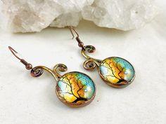 Fall tree earrings copper earrings electroformed earrings | Etsy Etsy Earrings, Dangle Earrings, Acorn Necklace, Friend Jewelry, Earring Tree, Handmade Jewelry Designs, Copper Earrings, Autumn Trees, Photo Jewelry