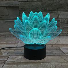 7 изменение цвета Сенсорный Лотос 3D красочные ночник странный стереоскопического визуальный обман лампы СВЕТОДИОДНЫЕ лампы Декор свет IY803339 купить на AliExpress