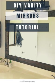 Farmhouse Style DIY Vanity Mirrors Tutorial - Must Have Mom. Upgrade your plain mirrors with this easy Farmhouse style mirror tutorial. @MustHaveMom Industrial Farmhouse Decor, Farmhouse Style Decorating, Farmhouse Ideas, Diy Vanity Mirror, Behind Couch, Diy For Kids, Area Rugs, Meme, Plates