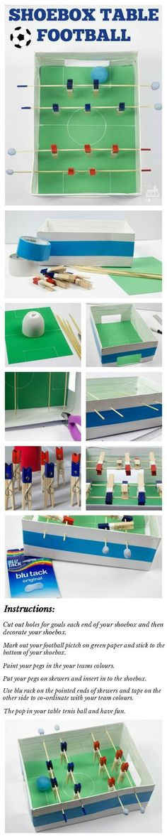 Shoebox table football/foosball game. This fab DIY football or foosball table is perfect for making with the kids and having loads of fun with. This is a super fun soccer DIY craft that uses recyclables and perfect for kids.  What a perfect way to celebra