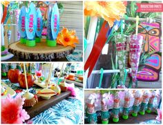 Hawaiian treats at a luau birthday party! See more party planning ideas at CatchMyParty.com!