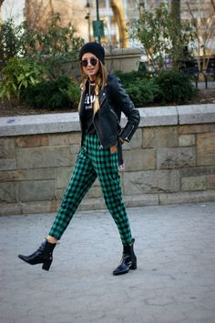 Green plaid trousers and a leather jacket x