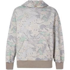 Yeezy camouflage hooded sweatshirt ($394) ❤ liked on Polyvore featuring tops, hoodies, grey, unisex hoodies, grey hoodies, grey top, gray top and unisex tops