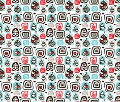 Merry retro christmas fabric by littlesmilemakers on Spoonflower - custom fabric