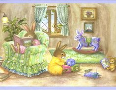 Holly Pond Hill Bunny Wallpaper Border - Clearance