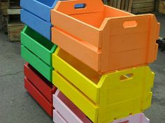 colored crates.
