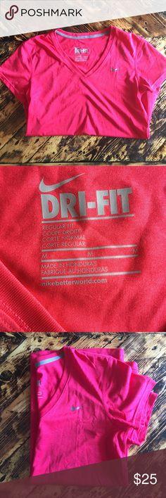 🌷Nike Womens Dri-Fit V-Neck T-Shirt Hot Pink Nike Womens Dri-Fit V-Neck T-Shirt  Like New Nike Tops Tees - Short Sleeve