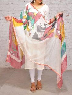 Multi-Color Hand Painted Kota Silk Dupatta