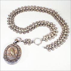 Victorian Sterling Silver Collar and Locket with Gold Owl Motif