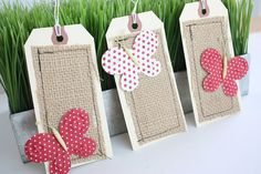 Butterflies and Burlap Tags Red by janesays on Etsy, $3.25