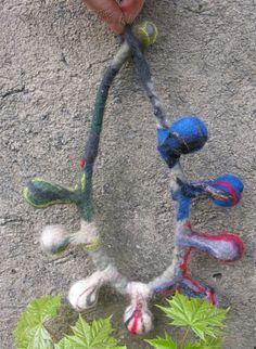 wool necklace, (c) Natalia Rivo from Rivo. My Works, Crochet Necklace, Handmade Jewelry, Wool, Beads, Gallery, Beading, Handmade Jewellery, Roof Rack