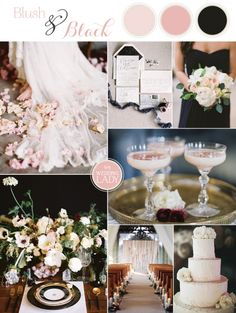 An ethereal glam wedding palette in blush and black with a fresh take on the color combination from organic flowers and natural details! Blush Wedding Reception, Black Wedding Themes, Blush Wedding Colors, Wedding Color Pallet, Pink Wedding Theme, Wedding Color Schemes, Dream Wedding, Wedding Ideas, Wedding Inspiration