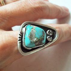 Vintage Navajo Sterling Silver and Turquoise Nugget Ring - Native American Silver - Southwestern Sterling - Size 5.5 - Large, Heavy Setting