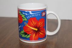 Red Hibiscus Hawaii Hilo Hattie Coffee Mug Cup State Souviner 12 Ounces