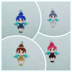 I would change the hair color yellow and the dress green and these would be cute Tinker bell charms