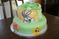 Looney Tunes Babies Shower Cake with Bugs, Tweety, Sylvester, Daffy...