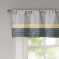 The Madison Park Amherst Window Valance completes your window in rich hues and elegant style. Pintuck detailing on the bottom portion adds a look of sophistication to the already beautiful color block design. Valance Curtains, Grey Kitchen Curtains, Modern Valances, Burgundy Curtains, Smith And Noble, Aqua Kitchen, Bathroom Windows, Modern Colors