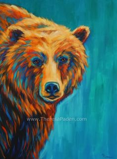LOVE THE COLORS Paintings by Theresa Paden: Large Colorful Grizzly Bear Painting by Theresa Paden