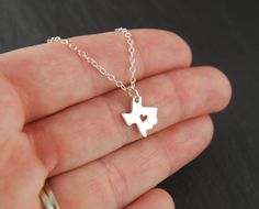 Texas state charm with heart necklace in by jersey608jewelry, $24.00