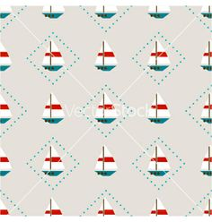 Seamless pattern with sailboats vector - by elenapro on VectorStock®