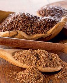 Compare as farinhas de linhaça dourada e marrom