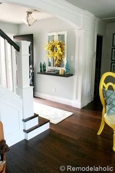 A beautiful entryway and makeover. Entry Reveal and Remodel budget stair remodel A beautiful entryway and makeover. Entry Reveal and Remodel budget stair remodel Home Renovation, Home Remodeling, Carpet Treads, Console, Up House, Stairways, Decoration, My Dream Home, Home Projects