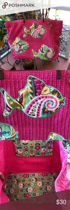 New Vera Bradley Tutti Fruity Straw tote Perfect for Summer.  Brand new. Cleaning out my closet! Vera Bradley Bags