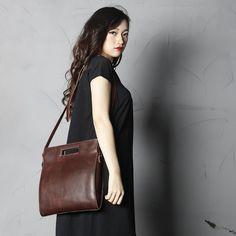 Image of Handmade Full Grain Leather Women Satchel Shoulder Bag Handbag SCY09