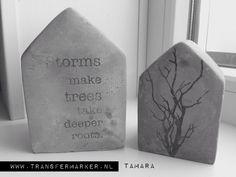 Tamara huisjes van beton met Transfermarker