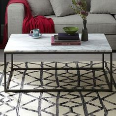 Box Frame Coffee Table | westelm.com | less cluttered visual space