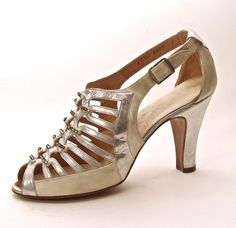 FC0096, Sandal, one of pair of silver kid and white silk, by Bally, Swiss, late 1930s