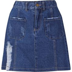 Yoins Denim Skirt with Rips (75 BRL) ❤ liked on Polyvore featuring skirts, yoins, black, denim skirt, distressed denim skirt, zipper skirt, ripped skirt and button skirt