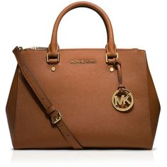 Michael Michael Kors Satchel - Sutton Medium ($265) ❤ liked on Polyvore featuring bags, handbags, luggage, satchel hand bags, michael michael kors purse, satchel style handbag, saffiano leather handbags and brown satchel