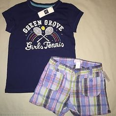 GIRLS 5 5T GAP SPARKLE GRAPHIC SHIRT OLD NAVY PLAID SHORTS OUTFIT NWT