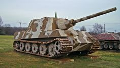 Jagdtiger was the heaviest tank of WW2. It was also a piece of junk. Built by the Germans, only 88 were built. It weighed over 70 tons. It required meticulous care and training and most broke down before combat. When used properly, it was devastating. The 128mm round could destroy vehicles even after going through buildings. Its best success was in the last week of the war when a handful destroyed a battalion of American Shermans in a single day. The Germans still surrendered the next day.